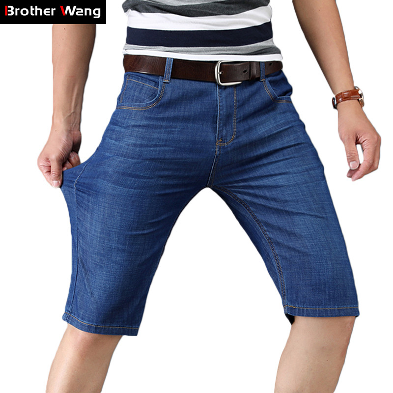 Denim Shorts Jeans Business Casual Summer Men Brand Blue Stretch Classic Slim