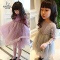 autumn newness baby girls dress mesh patchwork kids dress for girl lace flower girls tutu dress brand children clothing wedding