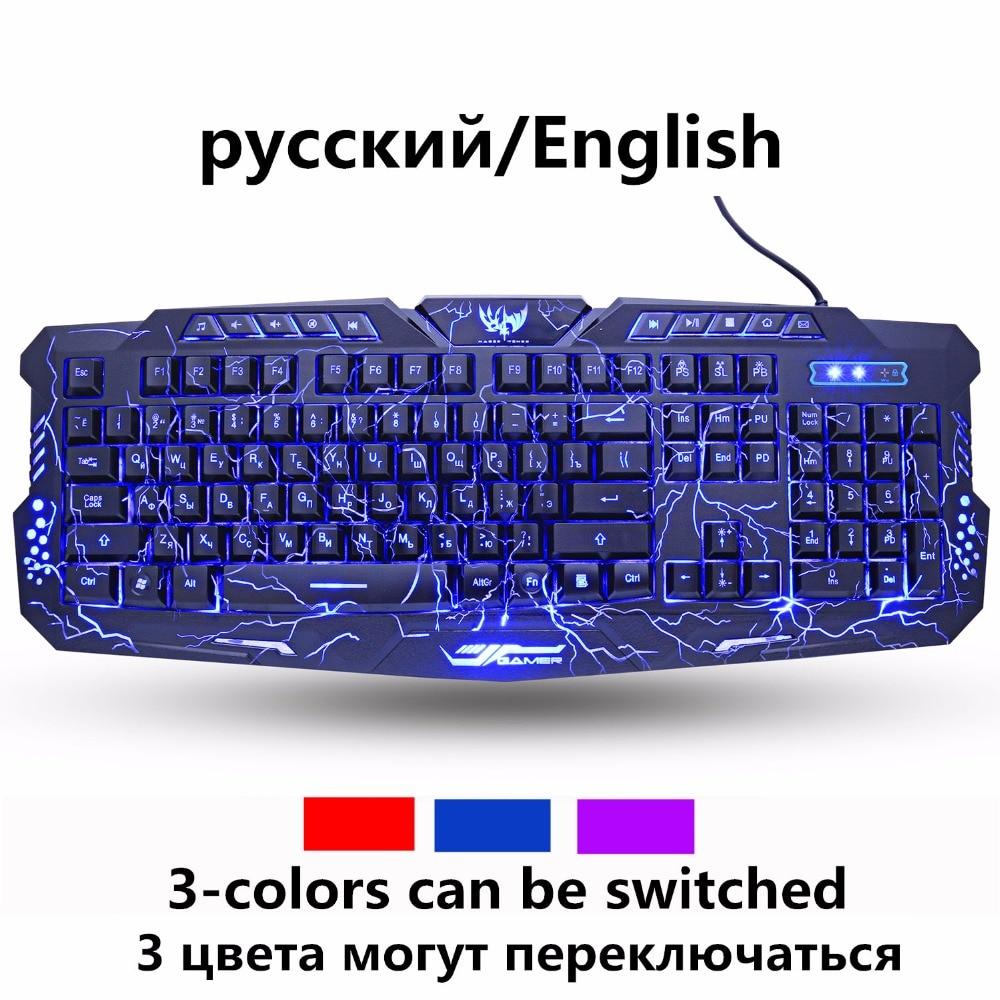 ZUOYA Russian English Gaming Keyboard Colorful Breathing Bac…