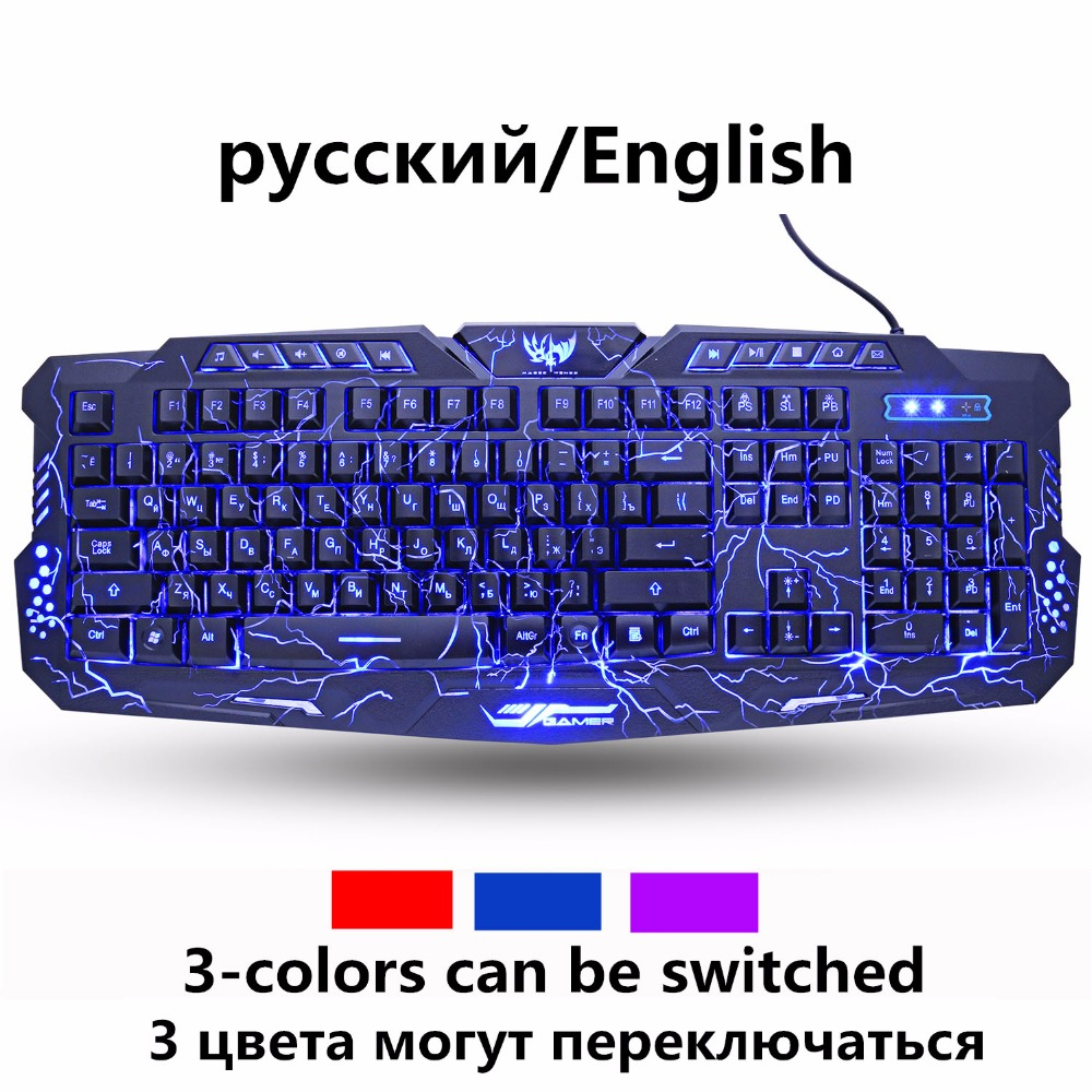 ZUOYA ruso inglés teclado de juego respiración colorido retroiluminado grieta 3-Color impermeable cable USB juego de teclado para PC portátil