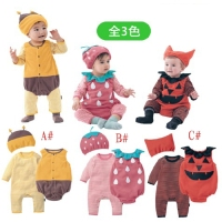 Halloween Baby Costume Pumpkin Strawberry Bee Clothing Set 3pcs Hat Romper Bodysuit Infant Toddler Kids Boys
