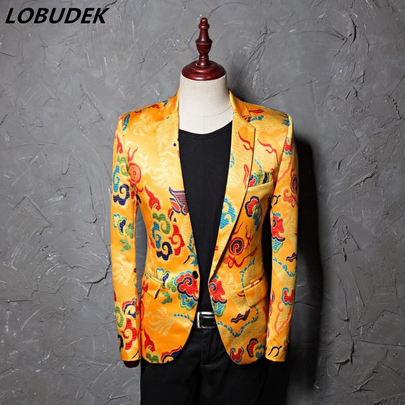 US $54.11 10% OFF|Men's Blazers Gold yellow Printing Casual Coat Male Wedding groom jacket outerwear Singer Star Compere show stage costume|Suit