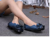 Spring/Autumn Loafers Women's Flat Blue Shoes Woman Personality Handmade Shoes Genuine Leather Soft Outsole Shoes Women Flats