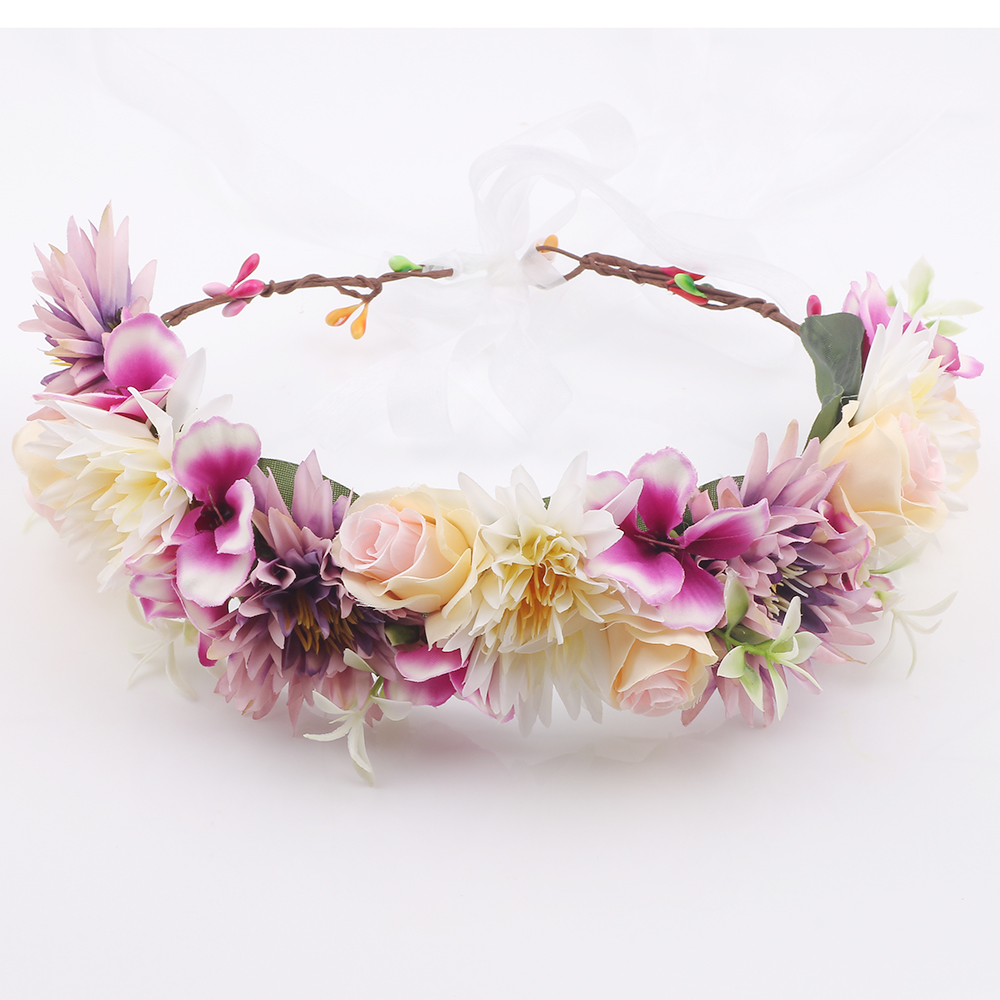 Wedding Rose Flower Headband Wreath Flower Crown Ribbon Adjustable