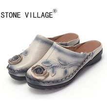 STONE VILLAGE Freee Shipping 2017 Ethnic Style Genuine Leather Women Shoes Flat Sandal Handmade Flower Cow Leather Women Slides