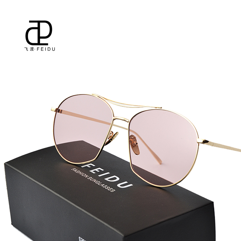 FEIDU Women Sunglasses Flat Panel Lens Fashion Hot Selling Sunglasses Celebrity Same paragraph Metal Temples SunGlasses With Box