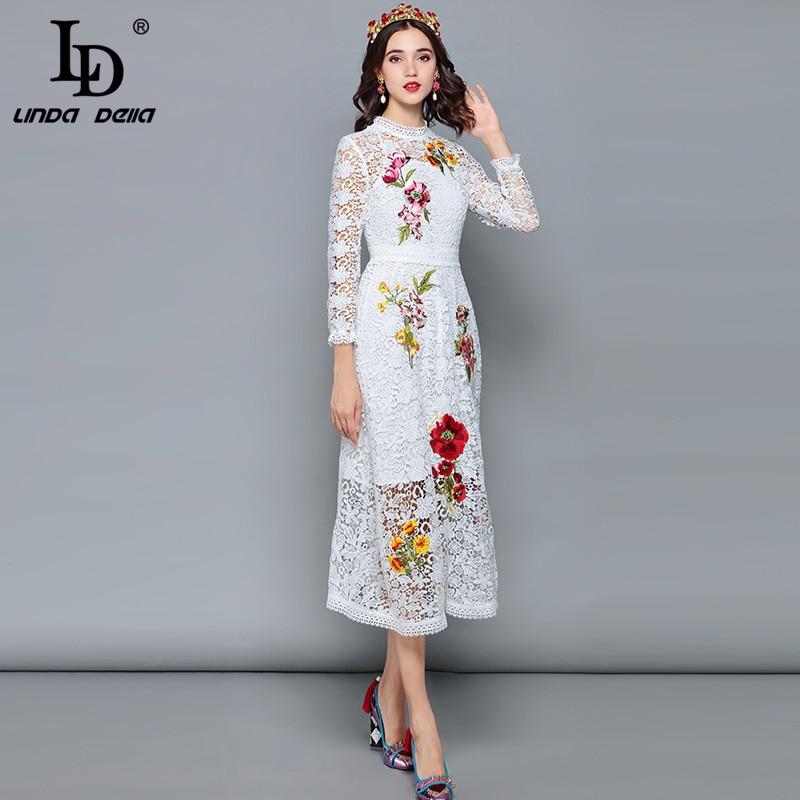Ld linda della 패션 디자이너 가을 드레스 여성 긴 소매 중공 레이스 꽃 자수 미디 화이트 우아한 드레스-에서드레스부터 여성 의류 의  그룹 2