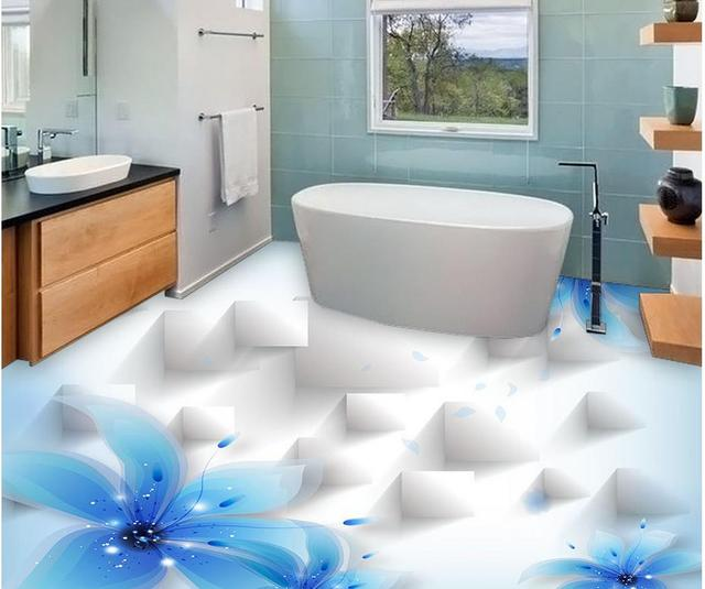 Home Decoration Blue Lily Beautiful Transparent Flowers 3D Fashion Flooring  Pvc Floor Wallpaper Bathroom Waterproof Wallpaper