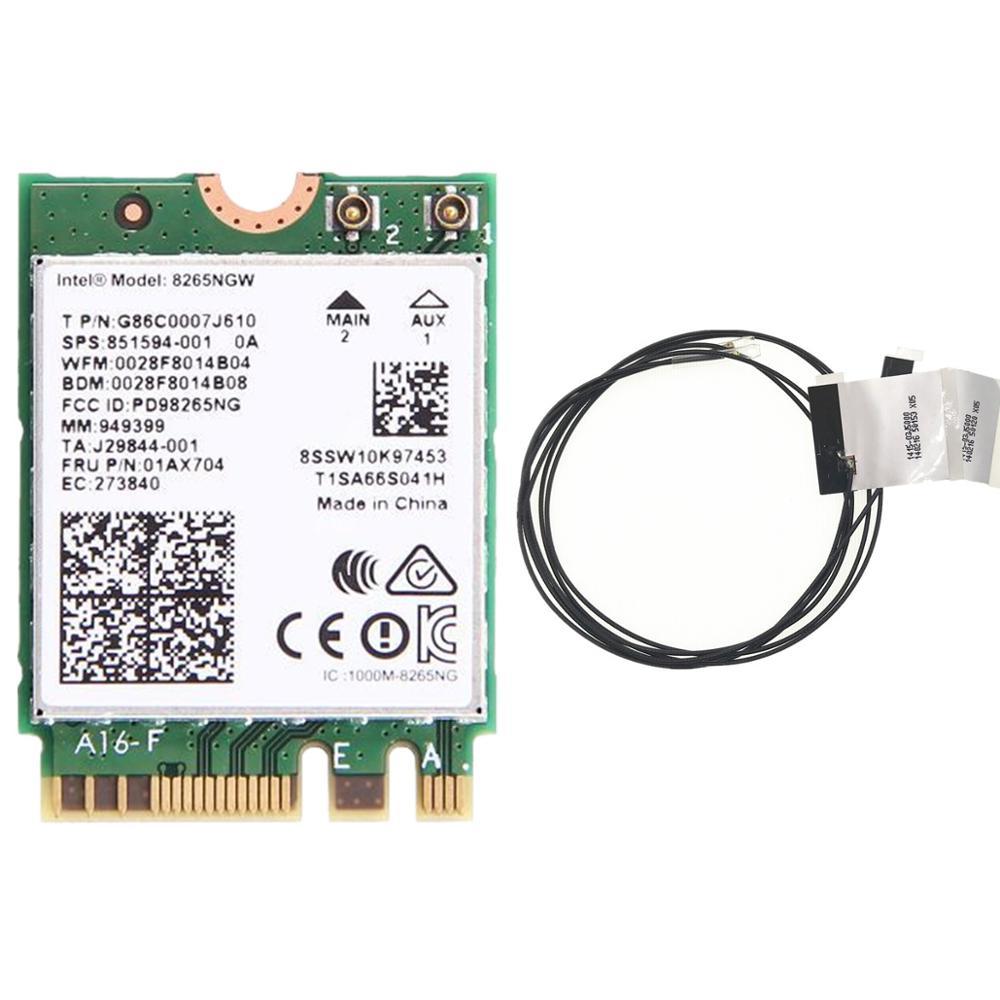 Nouveau Wlan double bande pour Intel 8265NGW sans fil-AC 8265 NGFF 802.11ac 867 Mbps 2x2 WIFI 802.11ac Wi-Fi + Bluetooth 4.2 carte 2.4G/5G