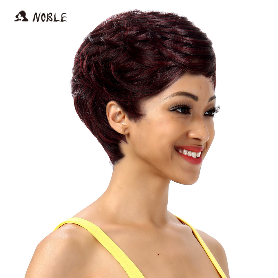 Noble Womens Synthetic Hair Wigs For Black Women 10 Inch Blonde Wig Short Wavy Wig Heat Resistant 22 Color Free Shipping