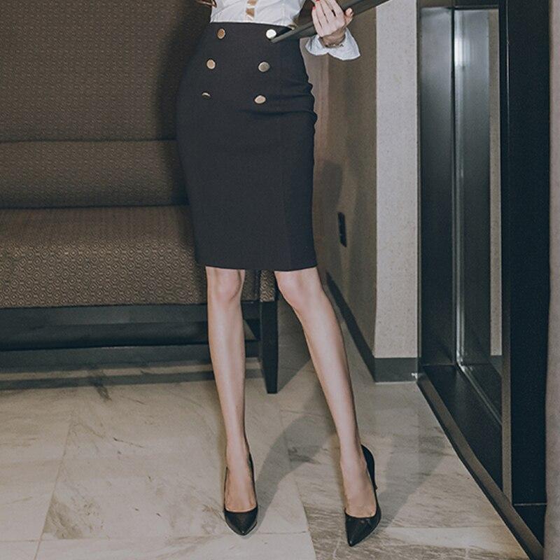 2018 новые модные женские туфли юбки Высокая Талия пуговицы Doublle-reasted тонкий юбка-карандаш Тощий ПР Классическая Черная Юбка Femme Jupe Falda