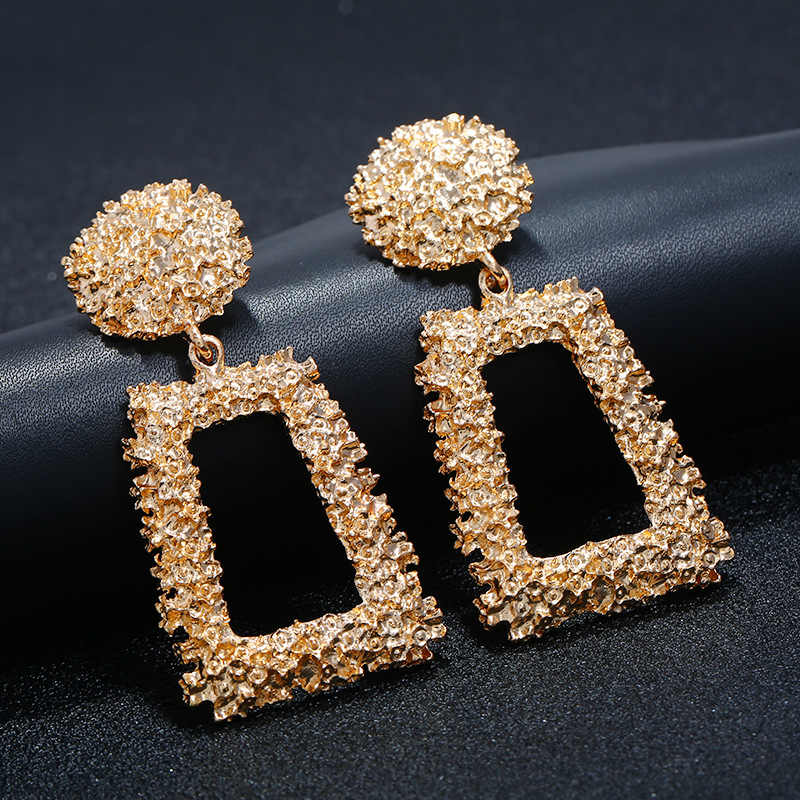 LZHLQ Big Vintage Earrings For Women Gold Silver Black Geometric Statement Earring 2019 Metal Earring Hanging Fashion Jewelry