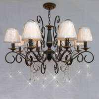 110V 220v Country Style Modern Crystal Chandelier With Shade E14 Vintage Home Lighting Wrought Iron Black
