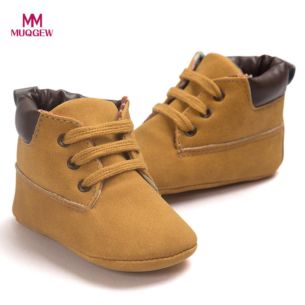 Toddler Baby Walker Shoes Soft Sole Leather Shoes Infant Boy Girl Crib Shoes