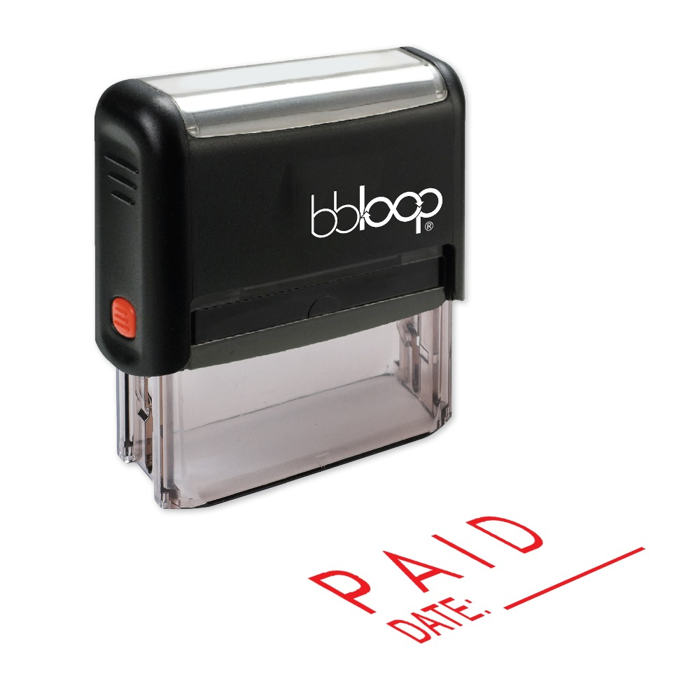 BBloop PAID W/ Date Line Self-Inking Stamp, Rectangular, Laser Engraved, RED/BLUE/BLACK 10 digit 9 wheels gray light blue rubber band self inking numbering stamp