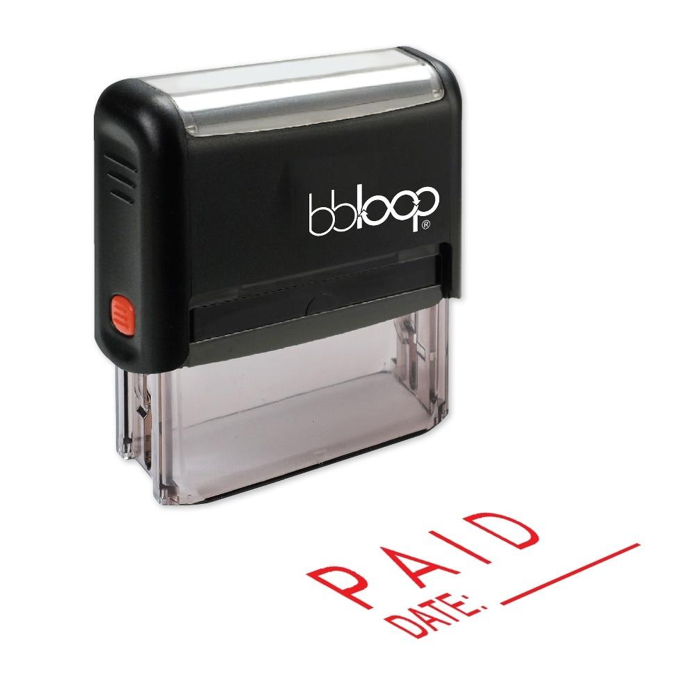 BBloop PAID W/ Date Line Self-Inking Stamp, Rectangular, Laser Engraved, RED/BLUE/BLACK ...