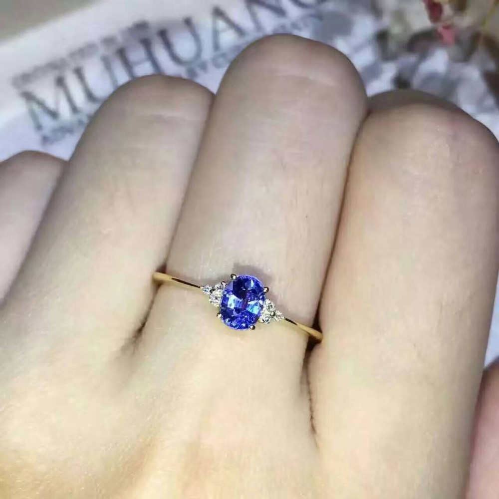Natural Tanzanite Gem Ring Natural Gemstone Ring 925 Sterling Silver Trendy Elegant Simple Compact Round Women Party Jewelry