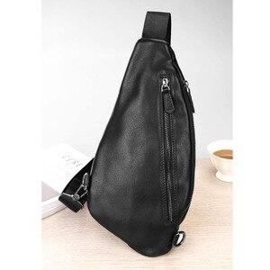 Image 2 - AETOO Mens chest bag leather Messenger bag casual mens top layer leather shoulder bag chest bag