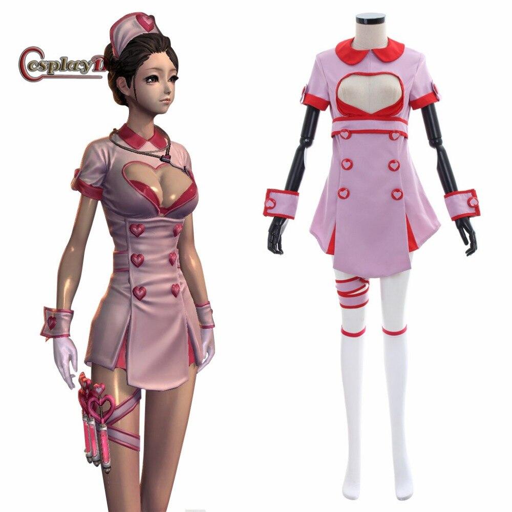 Cosplaydiy lame et âme Valentine infirmière uniforme Cosplay Costume femmes Sexy robe Halloween tenue Costumes sur mesure JT
