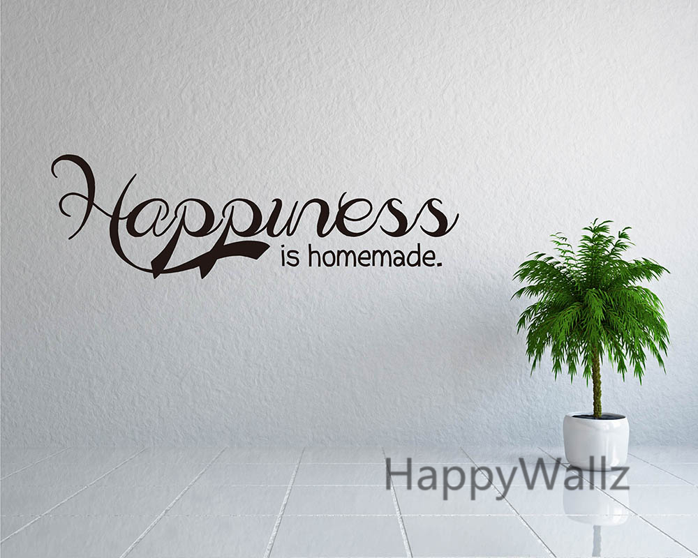 Happiness Is Homemade Family Quote Wall Sticker Decorating DIY Family Home  Lettering Custom Colors Quote Modern Wallpaper Q28 In Wall Stickers From  Home ...