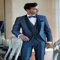 Trajes para hombre Azul Marino Personalizado Mejores trajes de Hombre traje Boda Del Novio Esmoquin Padrino de boda Traje Chaqueta + Pants + Tie + chaleco