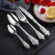 4Pcs/set Carved Silver Cutlery Set Zinc Alloy Dinnerware Luxury Flatware Tableware Silverware Knife Fork Spoon Drop Shipping