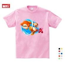 2019 Cute Kirby Girl T Shirt Game Kids T-shirts Star Allies Characters Children Summer Tops Boy Cartoon Anime Pink Pattern