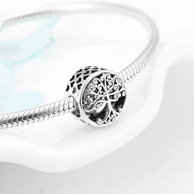Новая семья навсегда жизнь дерево замок бусы в форме сердца подходят оригинальные Pandora Подвески Серебро 925 браслет брелок ювелирные изделия DIY женщин - Цвет: A1448