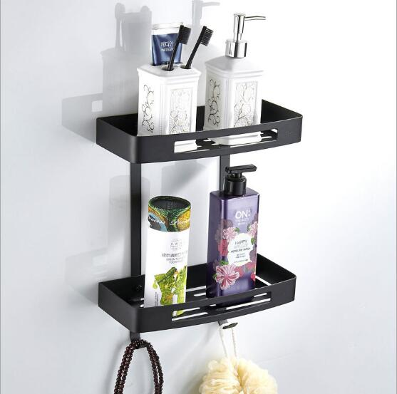 Black Bathroom Shelves Stainless Steel 2 Tier Square Shelf Shower Caddy Storage Shampoo Basket Kitchen Corner Shampoo Holder black bathroom shelves stainless steel 2 tier square shelf shower caddy storage shampoo basket kitchen corner shampoo holder