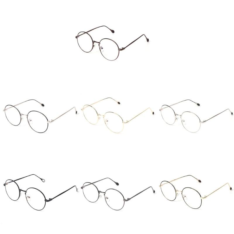 Round Clear Lens Glasses Metal Frame Vintage Fashion Style Unisex Modern Eyewear
