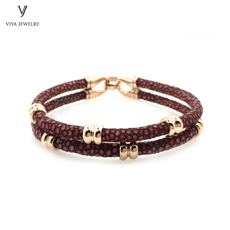 2017 Charm Red Wine Stingray Leather Cords Bracelet With Rose Gold Beads Has Gift Box Luxury Stingray Leather Bracelet For Men