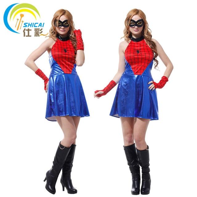 spider man f r frauen m dchen kost m superhelden cosplay partei aktivit ten halloween. Black Bedroom Furniture Sets. Home Design Ideas