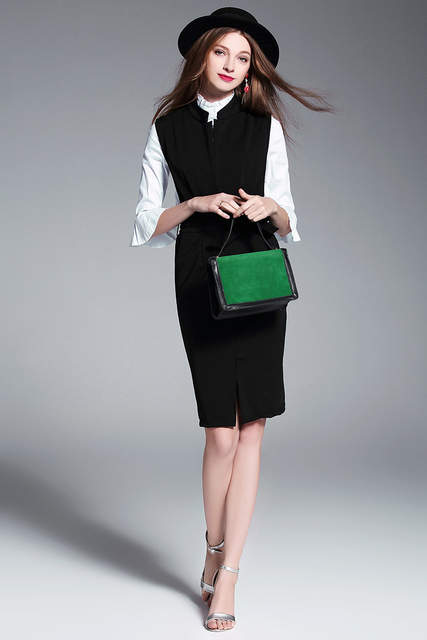 4a43b4f702f Online Shop 2017 New Spring Women Dresses Vintage Fashion Business Attire  Dress Elegant Casual Two Pieces Dresses Female Vestidos