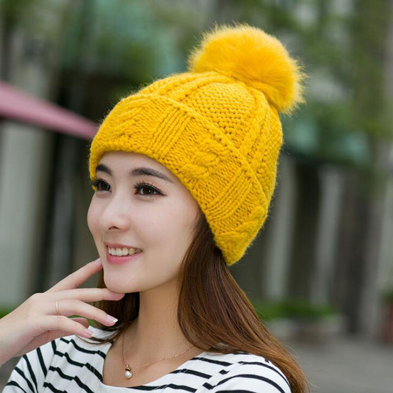 #0714 2017 Korean winter hats for women Fashion Bone Warm Knitting beanie skullies Women cap Tocas inverno Touca feminina
