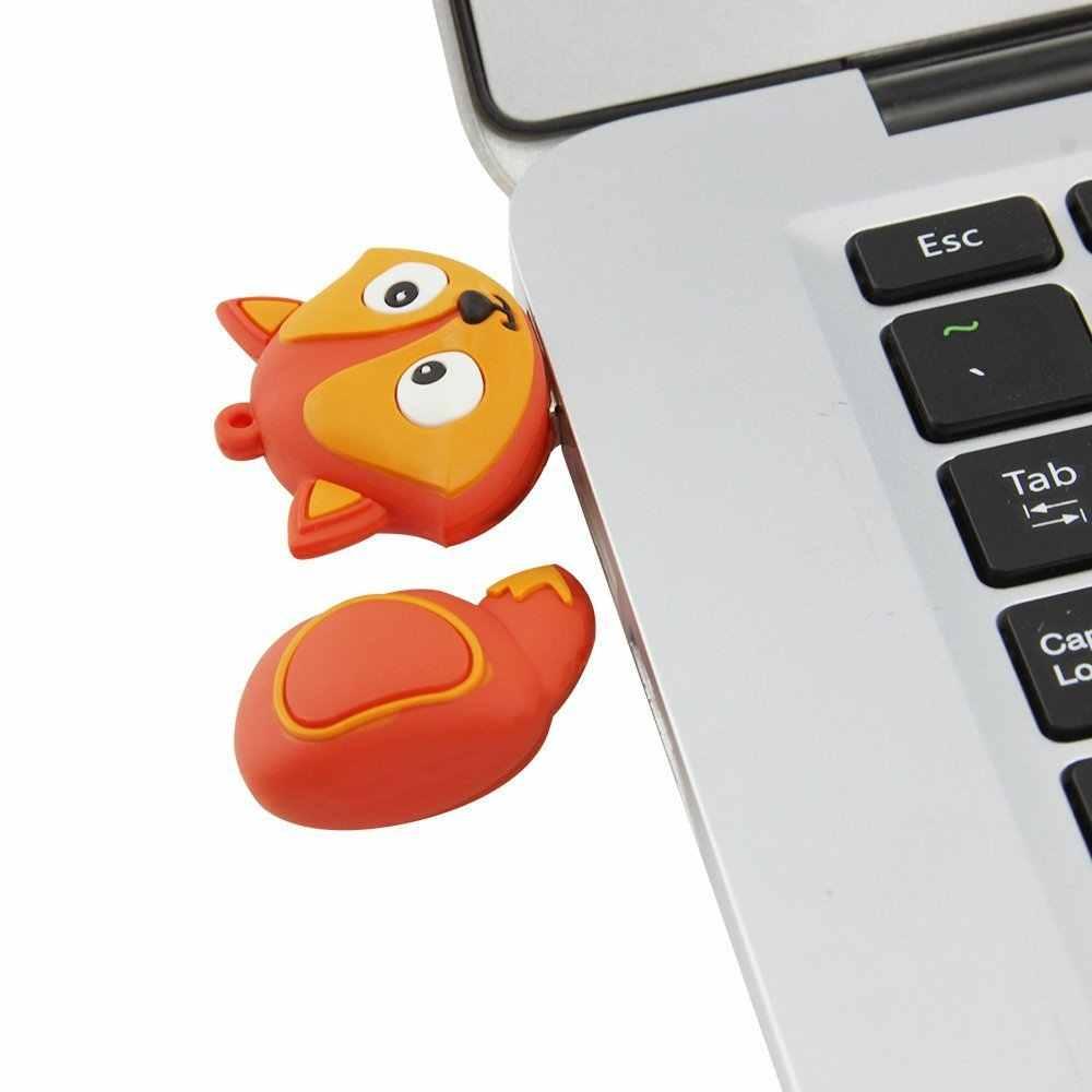 Силиконовый USB флеш-накопитель 2,0, 4 ГБ, 8 ГБ, 16 ГБ, мультяшная лиса, Флешка 32 ГБ, 64 ГБ, 128 ГБ, Usb флешка, практичная емкость, память Usb