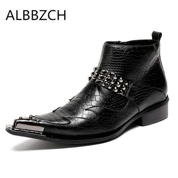New mens fashion metal design pointed toe embossed leather boots autumn winter high top shoes men ankle boots career work boots