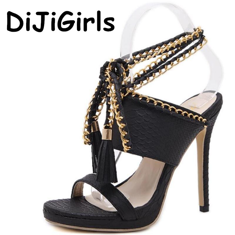 цены DiJiGirls Summer Gladiator Sandals Women High Heels Metal Chain Tassel Sandals Ankle Strappy Stiletto Slingblacks Shoes Woman