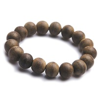 12mm Vietnam Genuine Natural Agilawood Aloeswood Bracelet Round Beads Stretch Wood Elastic Bracelet For Women Men Amulet