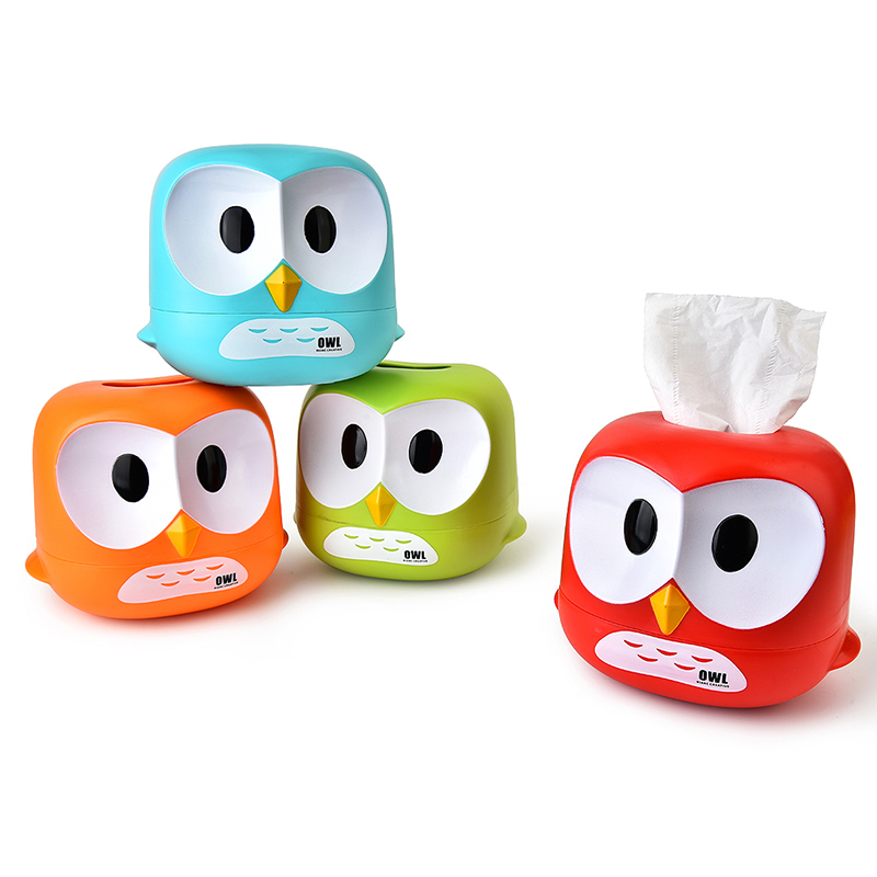 050 Cartoon Owl Paper Towel Box fahion home tissue box 17 15 5 14 5cm in Tissue Boxes from Home Garden