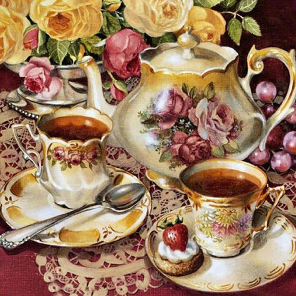 Nová mozaika plné položené diamantové výšivky Malba Kuchyně Rose květiny teaport pohár korálky kříž steh malování ruční práce