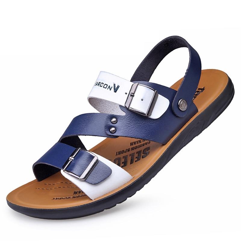 Sandalias Masculinas de Verano Hombres Zapatillas Cool Estilo Coreano  Zapatos Slip,On Hermosa Joven Estudiante