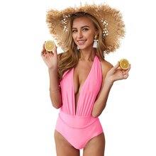 Plunge Backless One Piece Swimwear 2019 Style Women's 1 Piece Padded Monokini Solid Swimsuit Deep V neck Backless Sexy printed backless plunge neck swimsuit