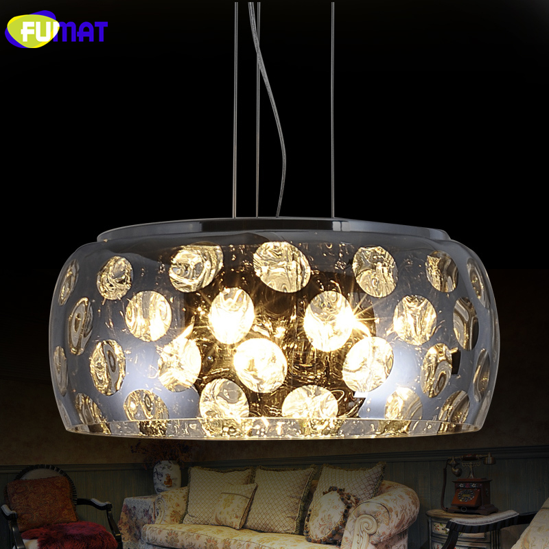 FUMAT K9 Crystal Pendant Light Modern Fashion LED Glass Suspension Light Living Room Bedroom Bar Lustre Crystal Pendant Lights modern fashion luxurious rectangle k9 crystal led e14 e12 6 heads pendant light for living room dining room bar deco 2239