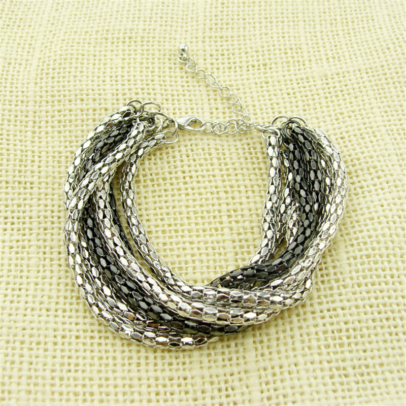 Special store multi layers metal alloy silver color hollow bracelet jewelry punk style