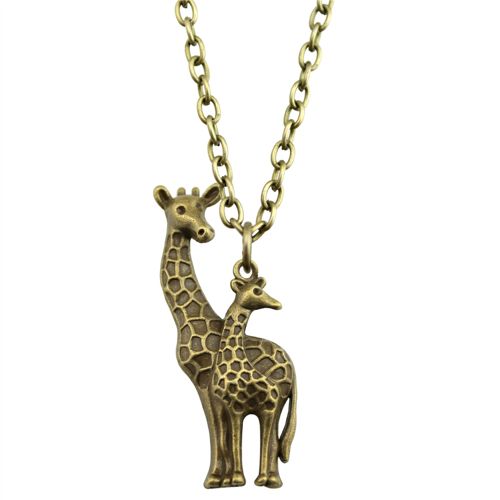 pendant deer for women from pendants charms rose silver long giraffe new necklace necklaces product crystal chain enamel cute lovely wholesale