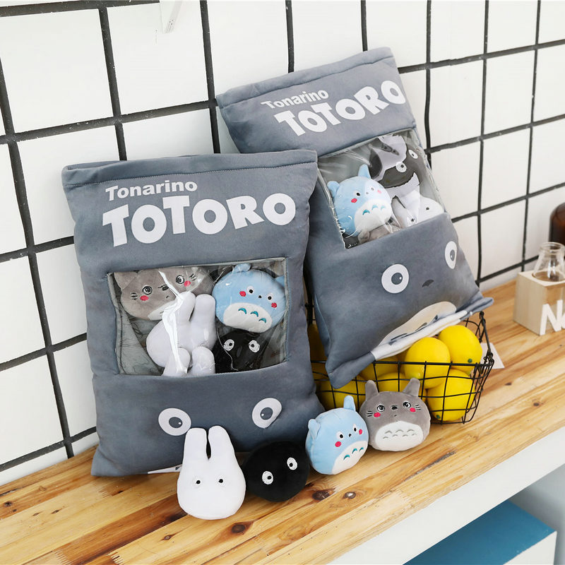 Totoro Stuffed Pillow With 4pcs Mini Size Totoro Family Anime Dolls Inside Push Throw Pillow Creative Gift For Baby Girl And Boy(China)