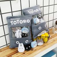 Тоторо мягкая подушка с 4 шт. Мини Размер Тоторо семья аниме куклы внутри толкатель Подушка креативный подарок для маленьких девочек и мальч...