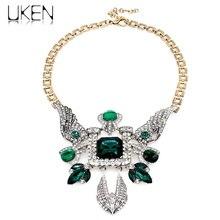 UKENWomen Rhinestones Statement Pendant Necklaces Vintage Style Glass Bead Bird Collar Chokers Maxi Necklaces collier femme