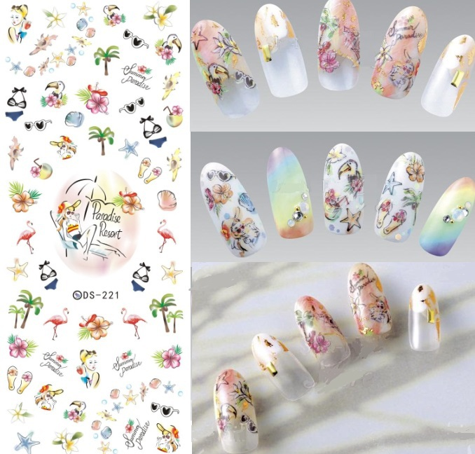 DS221 Nail Design Water Transfer Nails Art Sticker Decal Tropical Flamingo Paradise Beach Resort Vacation Nail Wraps Finger