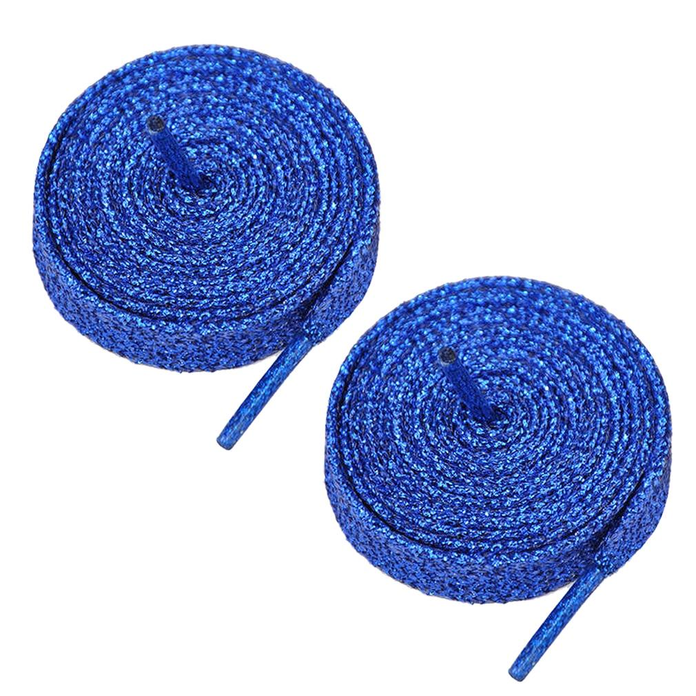 VSEN 2X Blue Glitter Flat Shoelaces Bootlaces Shoe Laces Sport Dance Fancydress vsen 2x 47 glitter flat coloured shoelaces boot laces sport dance red